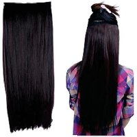 Majik Clip In Straight Remy Human Hair Extensions Natural Black, 24 Inches 100G