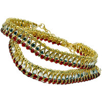 Red Golden Designer Kundan Brass Payal Anklet -101 - 79173112