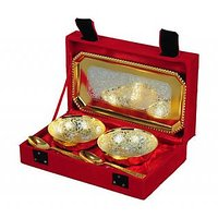 Golden Bowl & Spoon Set With Tray