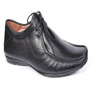 Runbird Trendy Black Leather Derby Shoes