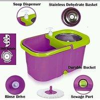 Platina Magic Easy Spin 360° Rotating SS Pole,Bucket, Wheel, Water Drain With 2 Mop Head