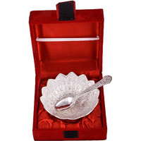 """GS Museum Silver Plated 4"""" Kamal Bowl With Spoon"""