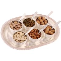 GS Museum Silver Plated 6 Met Finish Bowl Set With Dryfruit