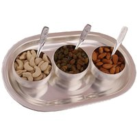 GS Museum Silver Plated 3 Met Finish Bowl Set With Dryfruit