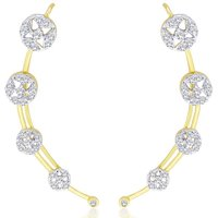 The Jewelbox Cz American Diamond Gold Plated Round Cluster Marquis Ear Cuff Pair