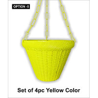 PLASTIC HANGING PLANTER SET OF 4PC YELLOW COLOR