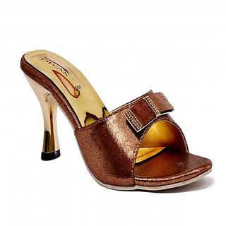 New Divas Stylish Unique Copper Slip On Heel Sandal