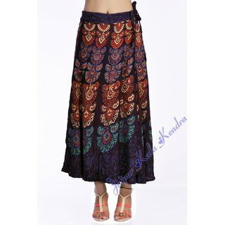 Indian Women Printed Rayon Wraparound Long Skirt Brown Color