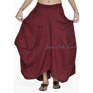Women Cotton Stylish Pockets Cotton Maroon Skirt