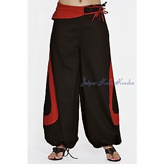 Indian Men Women Unisex Black Color Cotton Alladin Harem Pants With Stylish Pock