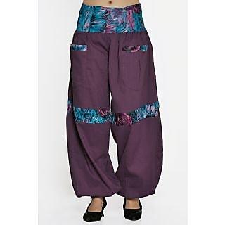 Indian Men Women Unisex Purple Color Cotton Alladin Harem Pant With Stylish Two