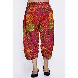 Women Crepe Cotton Pink Mulicolored Flowers Design Short Harem Capri Pants