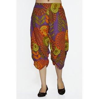 Women Crepe Cotton Purple Mulicolored Flowers Design Short Harem Capri Pants