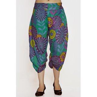 Women Crepe Cotton Sky Blue Mulicolored Flowers Design Short Harem Capri Pants