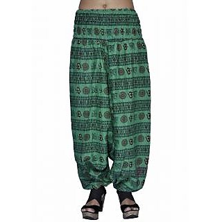 Women Green Color Om Printed Cotton Harem Pants Afghani