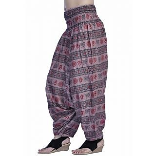 Women Light Purple Color Om Printed Cotton Harem Pants Afghani