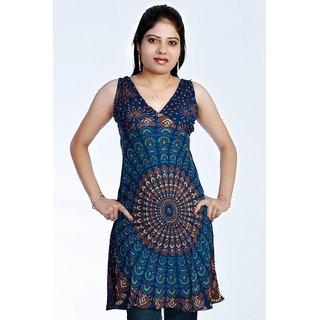Women's Mandola Printed Blue Color Top Kurta Kurti