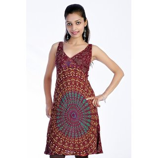 Women's Mandola Printed Maroon Color Top Kurta Kurti