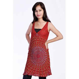 Women's Mandola Printed Red Color Top Kurta Kurti