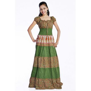 Indian Women Cap Sleeves Cotton Multicolored Green Printed Long Tunic Mexi