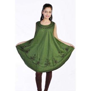 Women Stylish Cut Sleeves Pure Rayon Green Color Kurti Top Tunic