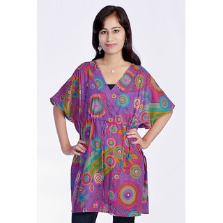 Women Multicolored Printed Cotton Purple Color Kaftan Dress Tunic Top
