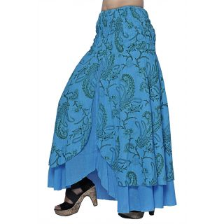 Indian Women Crepe Cotton Sky Blue Color Skirt