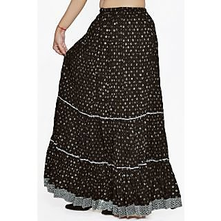 Indian Women Silver Printed Cotton Black Long Skirt