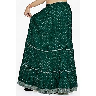 Indian Women Silver Printed Cotton Green Long Skirt