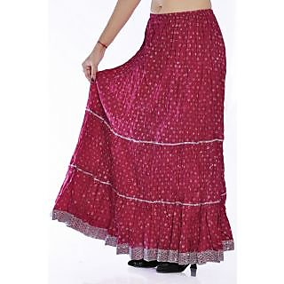 Indian Women Silver Printed Cotton Pink Long Skirt