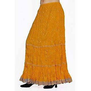 Indian Women Silver Printed Cotton Yellow Long Skirt