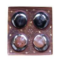 Wooden Dry Fruit Box With 4 Steel Bowls