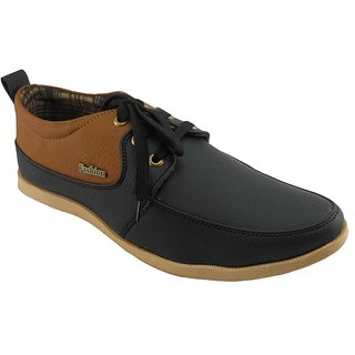 B3trendz Brown & Black Lace Up Casual Shoes For Men
