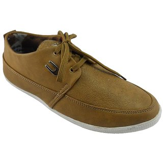 B3trendz Tan Lace Up Casual Shoes For Men