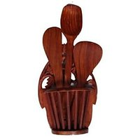 Onlineshoppee Wooden Hand Carved Wall Hanging Kitchen Ware Holder With 3 Spoon