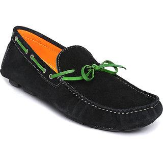 Famozi Men Leather Black Loafers