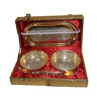 Utsav Handicraft Bowls With Tray For All Gifting Purpose- Golden