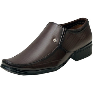 00RA Brown Stylish With Fine Lining Design Slip On Formal Shoes For Men