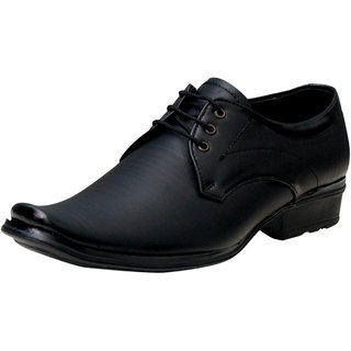 00RA Black With Fine Lining Design Lace Up Formal Shoes  For Men