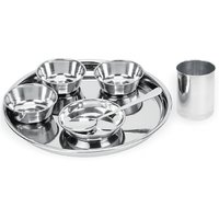 Stainless Steel 7 PC Dinner Thali Bowl Spoon Set 01