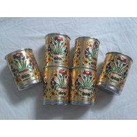 Decorative Meenakari Metal 6pcs Glass