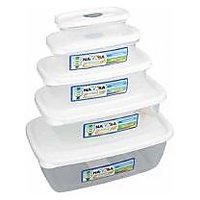 Nayasa Virgin Plastic Microsafe Container Set Of 5 White