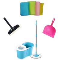 Everything Imported 360 Degree Rotating Mop With Dust Pan ,scrub Pad And Mini Wi