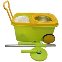 Easy Spin Mop With Wheels And Stainless Steel Bucket