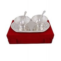 Silver Plated Heavy BrassTwo Bowls & Spoon Set With Tray In Attractive Velvet Bo