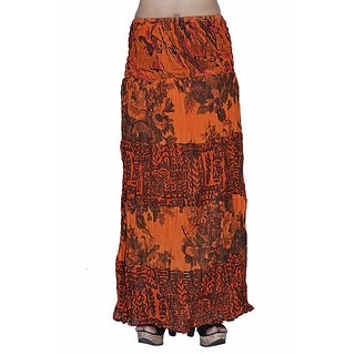 Indian Women Crepe Cotton Orange Color Skirt