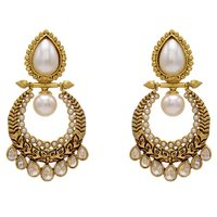 ANTIQUE GOLDEN STONE STUDDED POLKI DROPS EARRINGS/HANGINGS (PEARL)  - PCAE2135
