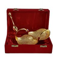 Gold Plated Swan Shape Bowl With Spoon