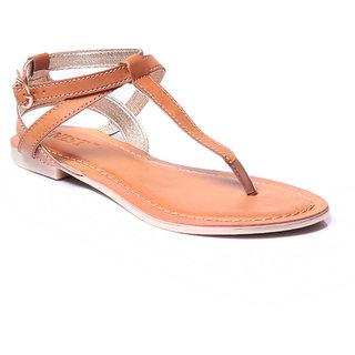 Gnist Modish Tan Faux Leather T Strap Sandals