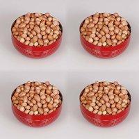 King International - Stainless Steel Red Designer Bowl/Katoris Set Of 4 Pcs